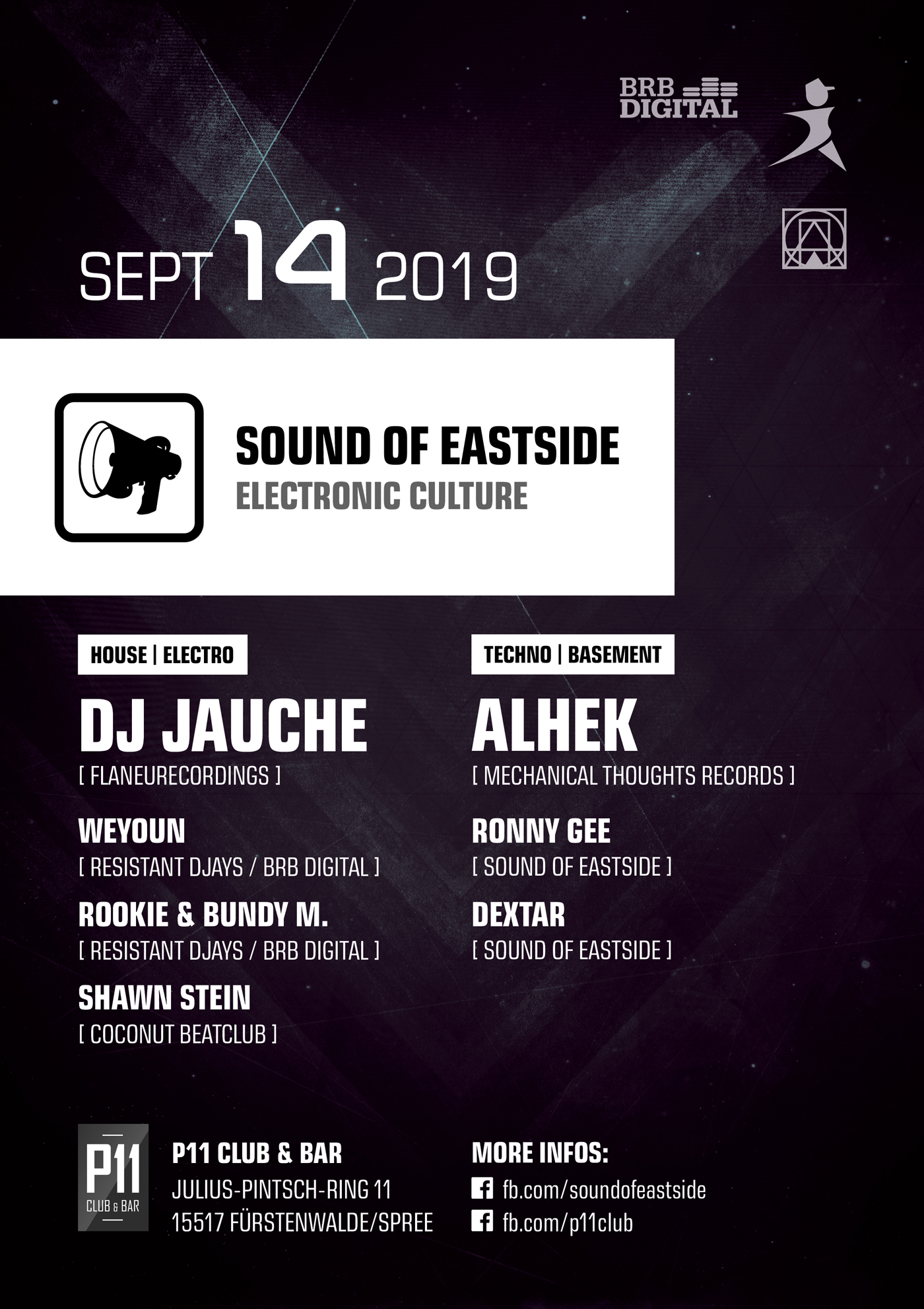 Event-Flyer: Sound of Eastside w/ Dj Jauche, ALHEK, BRB Digital